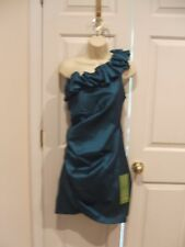 NWT  sl fashionsTEAL ONE SHOULDER RUCHED PARTY COCKTAIL PROM FORMAL DRESS SIZ 16