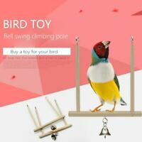 1Pcs Parrot Birds Perch Natural Wooden Toy Stand Holder Swing Bell Cage Hanging