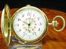 14kt 585 Gold Savonette Sprungdeckel Taschenuhr Chronograph Viertel-Repetition