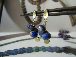 Ohrringe Für Frauen. Gold Ohrringe 14K Gelbgold Ohrringe, Mit Blau Lapis