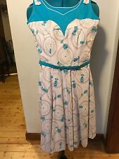 VINTAGE SWING DRESS ROCKNROLL1950'S HALTERNECK SWING DRESS ROCKABILLY SIZE10AU