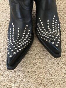 The Old Gringo..black ..7.5..black Leather .rhinestones