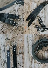 Multi-Camera dual leather strap harness shoulder fast belt Black Croc