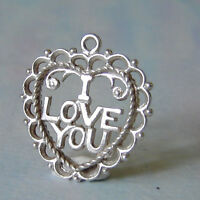 VINTAGE SILVER I LOVE YOU FOB/ CHARM