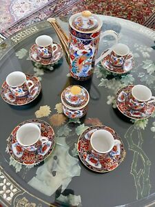 Japanese Imari Arita Peacock Tea Or Coffee Set