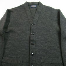 VINTAGE Travelo Cardigan Sweater Double Lock Stitch Virgin Wool Work Chore USA