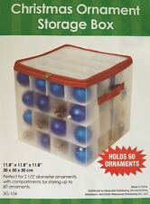 Ornament Organizer Portable Zip Storage Case Box Bin Holds 45-60 Christmas New