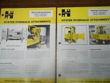 Hyster Attachments Brochure~Paper Roll Clamps~T-Bar Arm~Catalog Insert 1975
