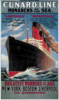 CUNARD LINE MONARCHS OF THE SEA VINTAGE REPRO A3 CANVAS GICLEE ART PRINT POSTER