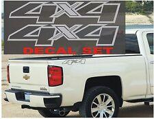 4x4 Truck Bed Decals, METALLIC SILVER (Set) for Chevrolet Silverado