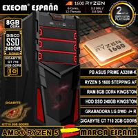 Ordenador Gaming Pc AMD Ryzen 5 1600AF 8GB HDD SSD 240GB GT710 2GB de Sobremesa