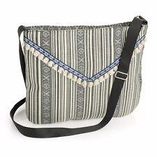 Ladies Black Tone Tribal Print and Tassel Design Cross Body Shoulder Bag Handbag
