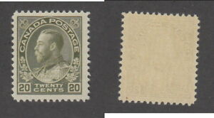 MNH Canada 20c Olive Green KGV Admiral - Dry Printing #119 (Lot #20130)
