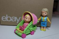 HTF RARE Fisher Price My First Doll house Figures Grandma Baby Stroller lot