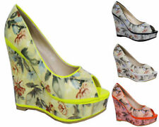 Wedge Peep Toes Floral Heels for Women