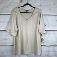 Karen Scott Womens 3X Cotton Lace Trim Tee Shirt V Neck Top Elbow Sleeve Beige