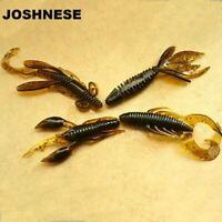 4pcs Worm Fishing Attractive Soft Shrimp Lifelike Wobbler Swivel Artificial Bait