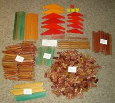 496 Pc Vtg Lincoln Logs Pieces Wood Roofs Slats Chimney Tons of Different Pieces