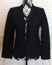 VTG Emporio Armani Womens Blazer Black Pinstriped Jacket Career US Size 6