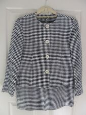 Ralph Lauren 10 Blue Houndstooth Linen Silk Check Pencil Skirt Suit