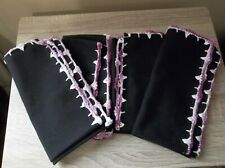 SET OF 8 UNBRANDED BLACK CLOTH NAPKINS PURPLE VARIEGATED 17 x 17 INCHES