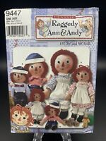 """Simplicity 9447 Raggedy Ann & Andy Doll & Doll Clothes Pattern 15"""" 26"""" 36"""" Uncut"""