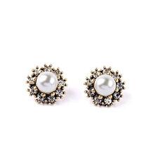 Women's Rhinestone  flower Pearl Stud Earrings