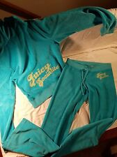 JUICY COUTURE WOMENS 2PC TEAL VELOUR HOODIE SWEATSHIRT AND SWEATPANTS SZ M/P