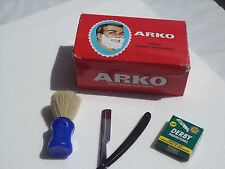Barber Style Straight Cut Throat Razors +100 Derby Blades + 12 Arko Soap + Brush