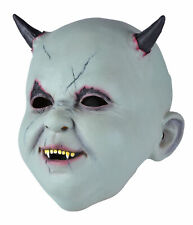 Mens Halloween Horror Fancy Dress Party Costume Scary Horn Latex Baby Devil Mask