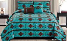 Rustic Southwestern Turquoise Aztec Quilt Coverlet - 5 Piece Set