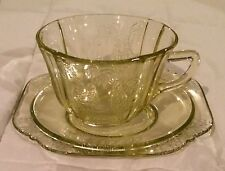 Amber Parrot Sylvan Depression Glass Cup and Two Saucers
