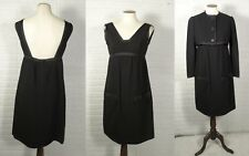 Vintage 1960s Geoffrey Beene Black Mod Backless Dress XS S 34 Cropped Jacket SET