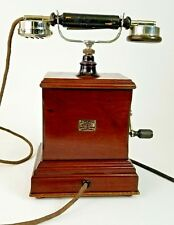 Atea Antique Wood Telephone Wooden Crank Magneto L 720 Belgium Phone 1925