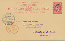 """2422 1903 GAMBIA EVII One Penny postal stationery postcard """"LIVERPOOL BR.PACKET"""""""