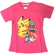 NEW Size 6~12 KIDS POKEMON GO PIKACHU POKEBALL PINK TSHIRTS TEE TOP BOYS GIRL'S