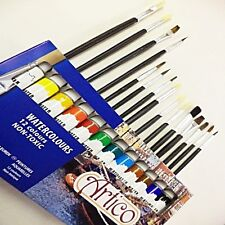 GIFT OF WATER COLOURS PAINTS SET + BRUSHES PICTURE KIT ART SUPPLY PAINTINGS BOX