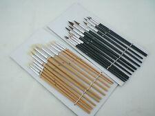 24PC-Artistas Acrílicos Colores Pintura sistema de cepillo fino Tamaños artesanía Cepillos Kit Nuevo