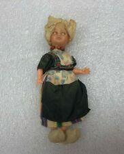 Vintage CS Doll Made Italy w/ Clogs Hat Necklace Dress & Apron Blue Sleepy Eyes