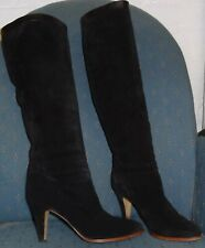 "NICKELS Made In Italy BLACK SUEDE LEATHER 3"" Heel SEXY KNEE HIGH BOOTS Size 7.5"