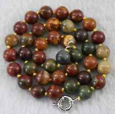AAA Natural 10mm Multicolor Picasso Jasper Round Beads Necklace 18""