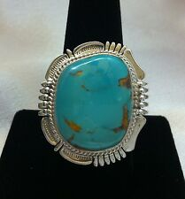 Natural Royston Turquoise Sterling Silver Ring, 10.5, Navajo