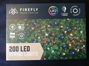 200 LED Solar Powered Multi Colour Flashing & Static Remote Fairy String Lights