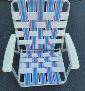 Vintage Aluminum Folding Woven Beach Chair Red, White And Blue