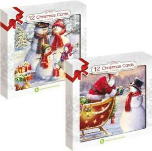 12 PACK TRADITIONAL CHRISTMAS IN/OUTDOOR SCENE CARDS SNOWMAN SANTA CLAUS XMAS