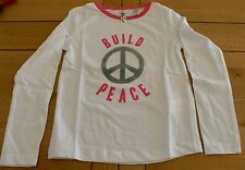 "437 - T-shirt ML 4 ans OKAIDI blanc ""build peace"""