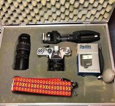 """ZENIT-EM"" SLR CAMERA 2 Lenses/Tripod/Strap/Aluminium case VGC"