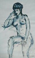 Vintage AL RUBEN (1918-2011) Seated Figure Study Female Nude watercolor & ink