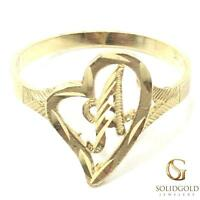NEW 10K YELLOW GOLD INITIAL HEART RING LADIES/TEEN/KID/CHILD 10KT RING I-70