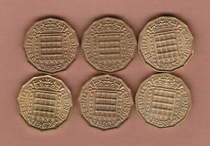 SIX BRASS THREEPENCE COINS 1953/1954/1955/1959/1961 & 1962 NEAR MINT CONDITION